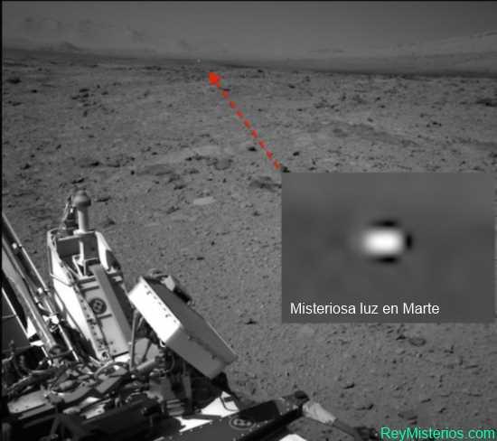 luz brillante en Marte